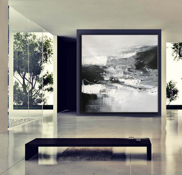 Black and white contemporary paintings | Black and white abstract oil painting F75-9