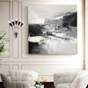 Black and white contemporary paintings | Black and white abstract oil painting F75-10