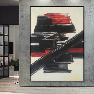Black and white contemporary art | White on white painting | Large black and white artwork F185-1