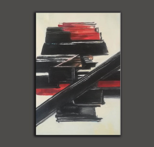 Black and white contemporary art | White on white painting | Large black and white artwork F185-6