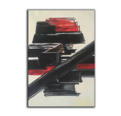 Image of Black and white contemporary art | White on white painting | Large black and white artwork F185-7