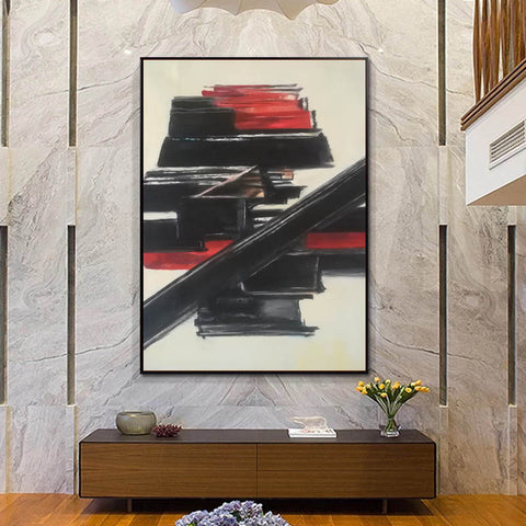 Image of Black and white contemporary art | White on white painting | Large black and white artwork F185-2