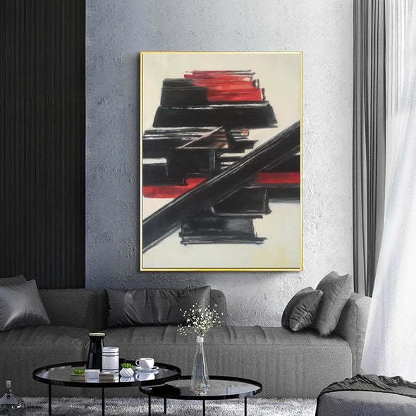 Black and white contemporary art | White on white painting | Large black and white artwork F185-9