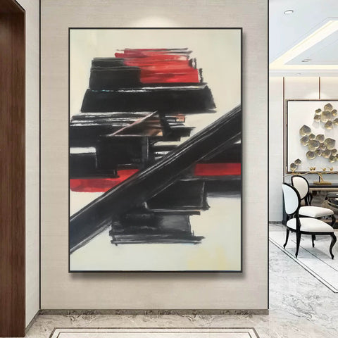 Image of Black and white contemporary art | White on white painting | Large black and white artwork F185-4