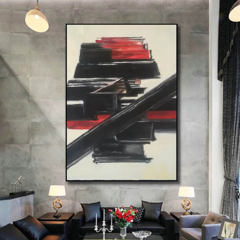 Image of Black and white contemporary art | White on white painting | Large black and white artwork F185-10