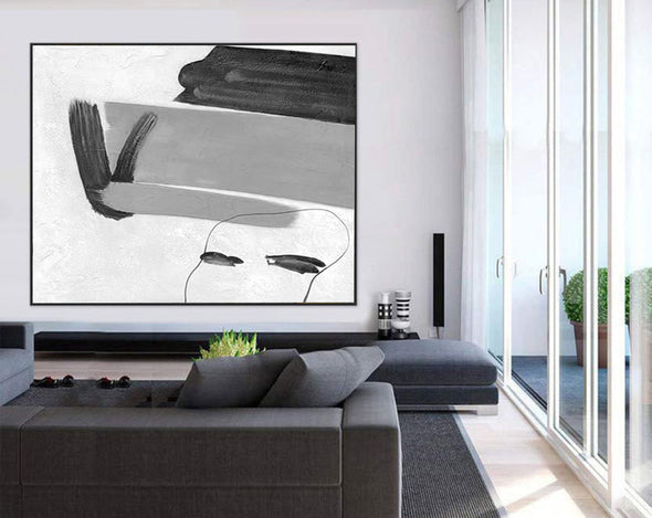 Black white and gray abstract art | Big black and white paintings F314-2