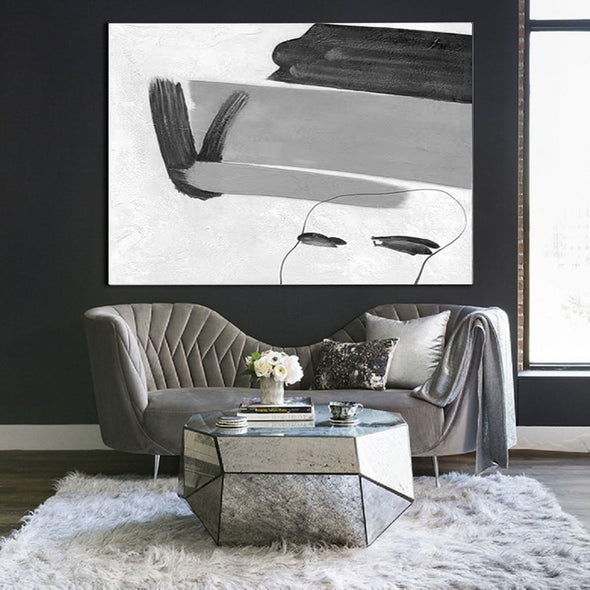 Black white and gray abstract art | Big black and white paintings F314-6