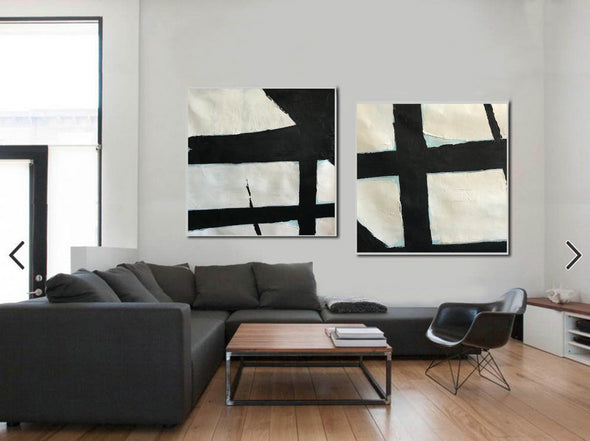 Black abstract art  Black white abstract art F111-10