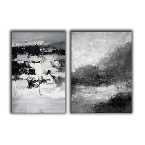 Image of Black and white abstract art | Black and white artwork F80-6