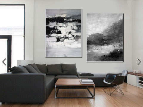 Image of Black and white abstract art | Black and white artwork F80-2