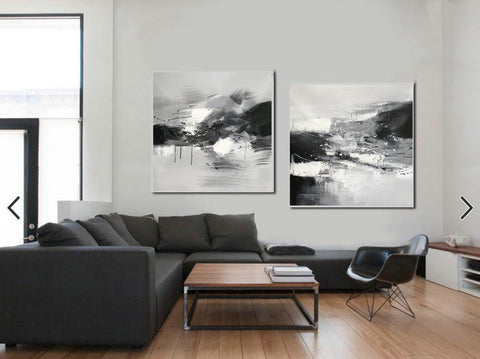 Image of Black and white abstract oil painting Black white and gray abstract art F90-10