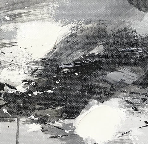 Image of Black and white abstract oil painting Black white and gray abstract art F90-4