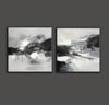 Black and white abstract oil painting Black white and gray abstract art F90-5
