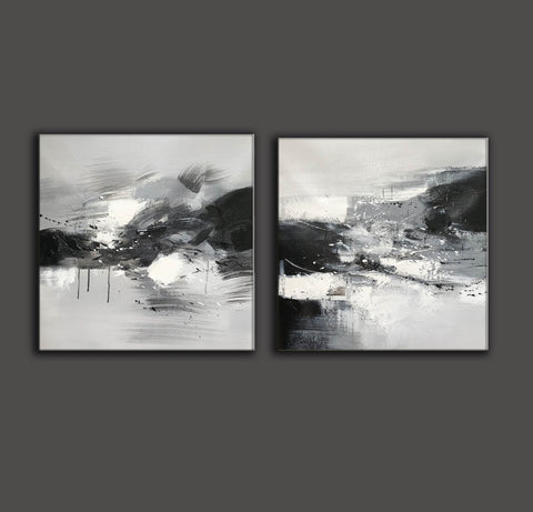 Image of Black and white abstract oil painting Black white and gray abstract art F90-5