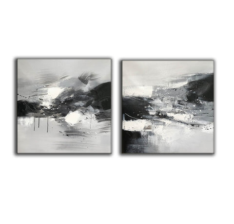 Image of Black and white abstract oil painting Black white and gray abstract art F90-6