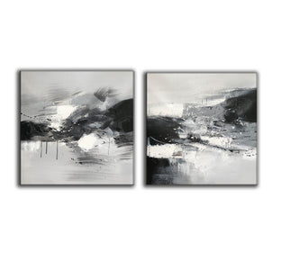 Black and white abstract oil painting Black white and gray abstract art F90-6