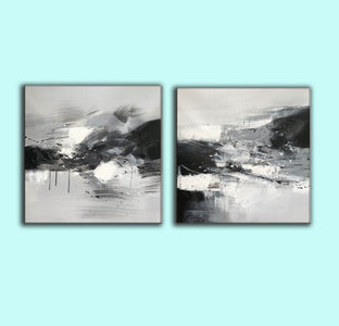 Black and white abstract oil painting Black white and gray abstract art F90-7