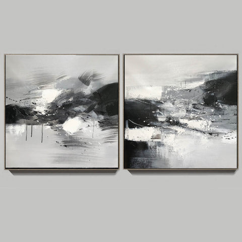 Image of Black and white abstract oil painting Black white and gray abstract art F90-8