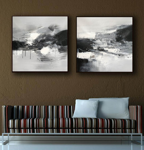 Image of Black and white abstract oil painting Black white and gray abstract art F90-2