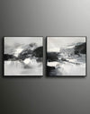Black and white abstract oil painting Black white and gray abstract art F90-9