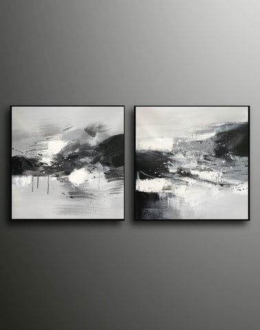 Image of Black and white abstract oil painting Black white and gray abstract art F90-9