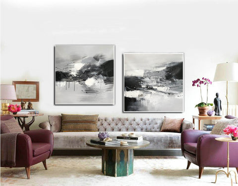 Image of Black and white abstract oil painting Black white and gray abstract art F90-1