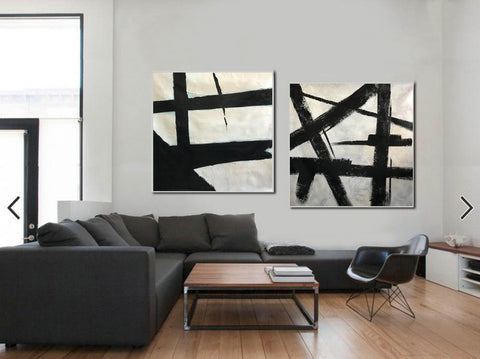 Image of Big black and white paintings | Large white wall art F98-10