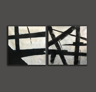 Big black and white paintings | Large white wall art F98-5