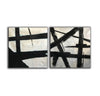 Big black and white paintings | Large white wall art F98-6