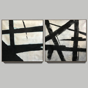 Big black and white paintings | Large white wall art F98-8