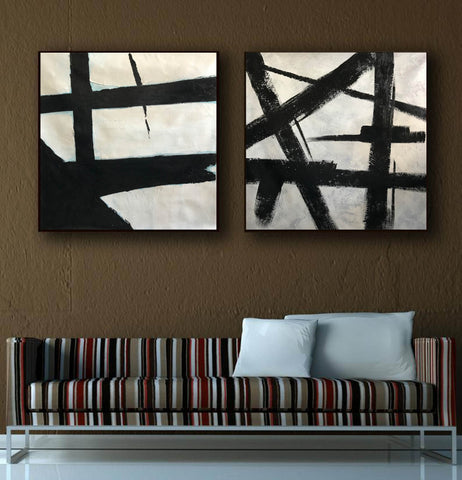 Image of Big black and white paintings | Large white wall art F98-3
