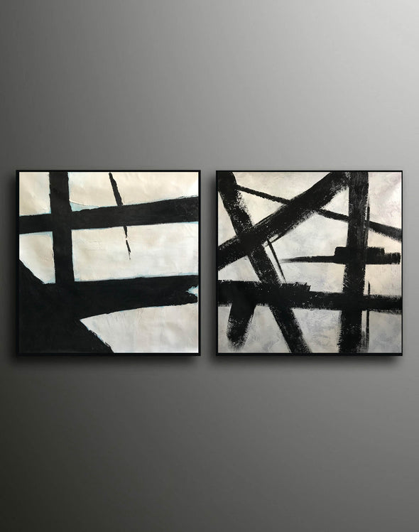 Big black and white paintings | Large white wall art F98-9