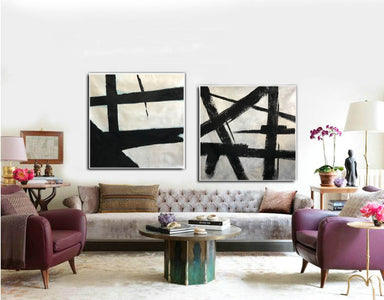 Big black and white paintings | Large white wall art F98-2