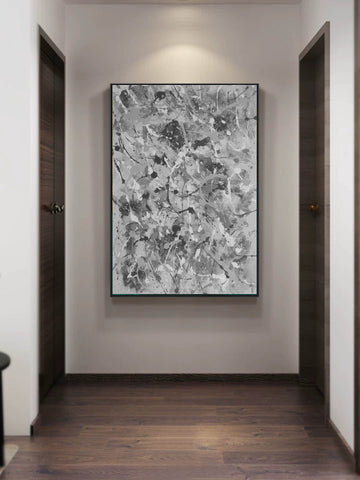 Image of Black and white abstract artwork | Black & white paintings contemporary F165-8
