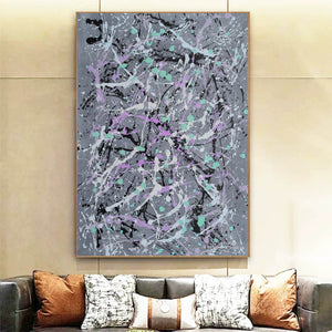 Black and white abstract oil painting | Black white and gray abstract art F172-10