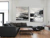 Black and white artwork for living room | Black and white art abstract F87-10