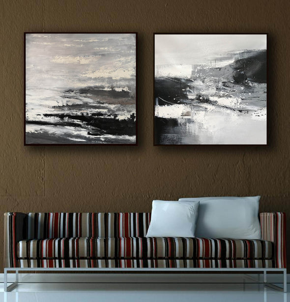 Black and white artwork for living room | Black and white art abstract F87-7