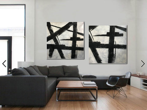 Black white gray paintings | Abstract black art F104-10