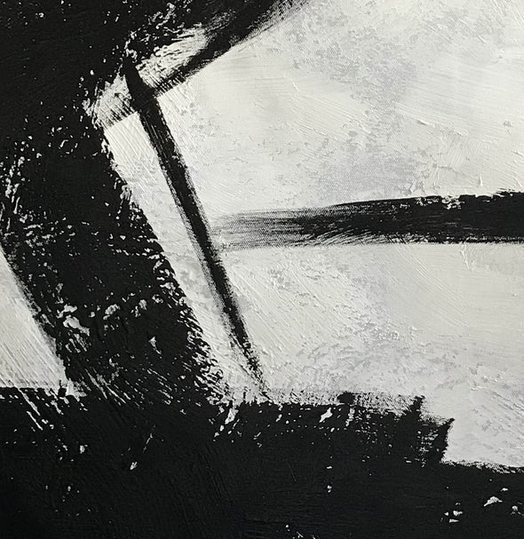 Black white gray paintings | Abstract black art F104-3