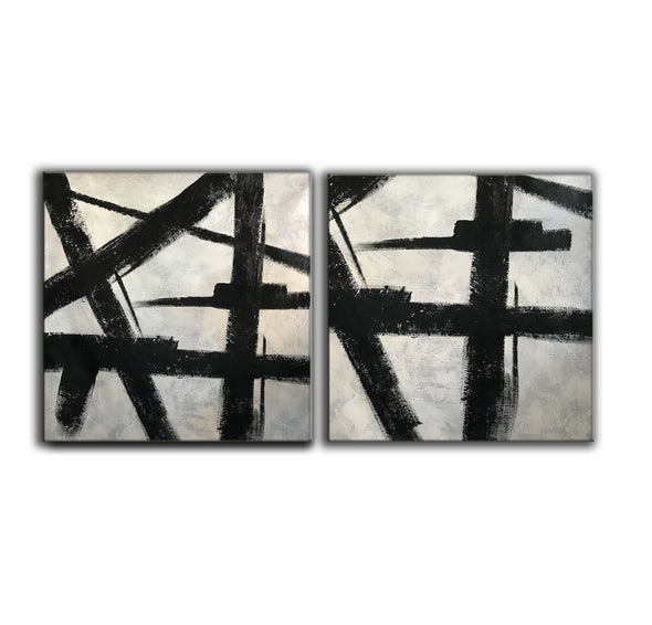 Black white gray paintings | Abstract black art F104-6
