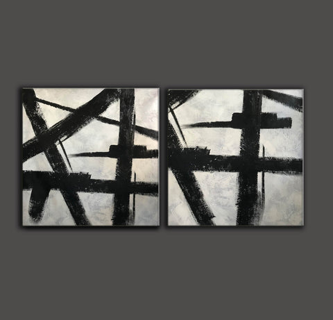 Black white gray paintings | Abstract black art F104-7