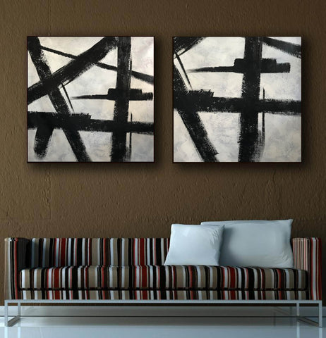 Black white gray paintings | Abstract black art F104-1