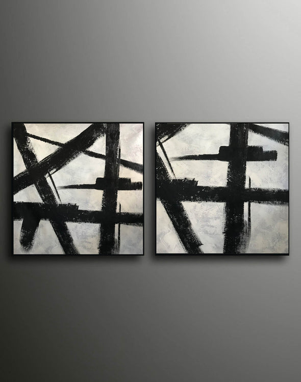 Black white gray paintings | Abstract black art F104-9