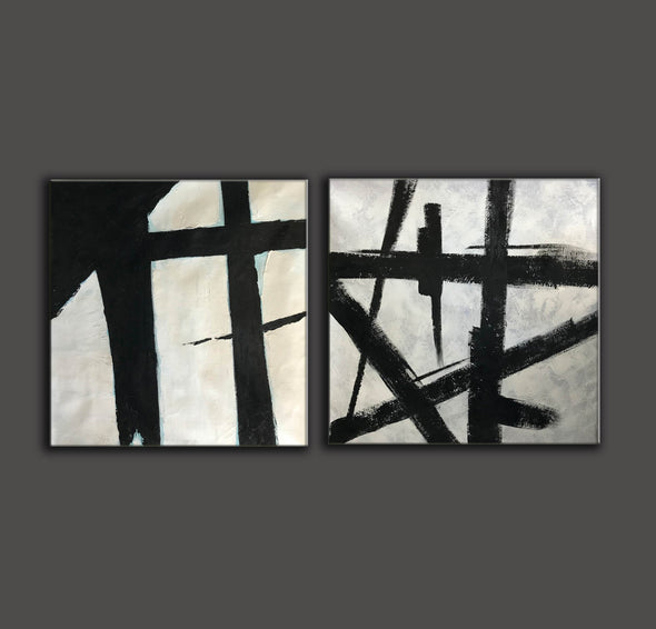 Black and white art paintings  White abstract painting F114-5