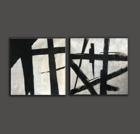 Image of Black and white art paintings  White abstract painting F114-5