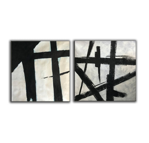 Image of Black and white art paintings  White abstract painting F114-2