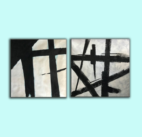 Image of Black and white art paintings  White abstract painting F114-4
