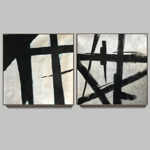 Image of Black and white art paintings  White abstract painting F114-6