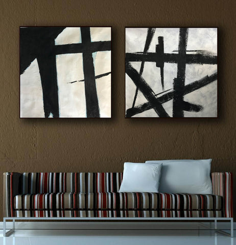 Image of Black and white art paintings  White abstract painting F114-1