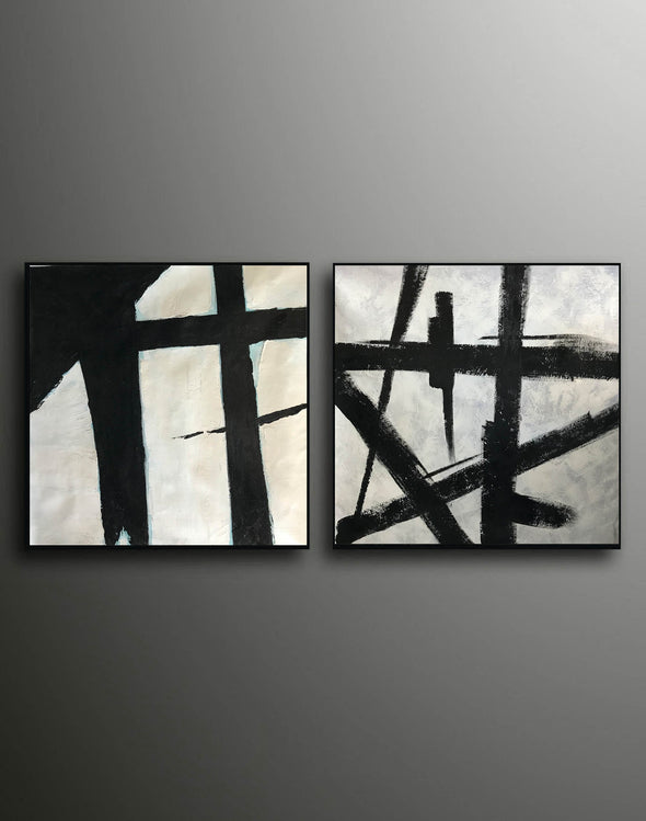 Black and white art paintings  White abstract painting F114-7